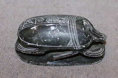 Antique/Vintage Carved Stone Scarab Heiroglyphics