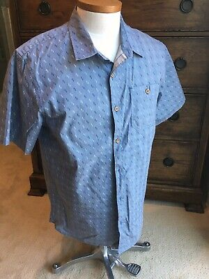 Voyager Size Large Mens Short Sleeve Casual Blue Shirt Faux Wood Buttons Chest P