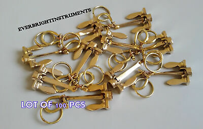 Lot Of 100 Pcs Anchor Key  Ring Brass Golden Finish Antique Nautical Collectible