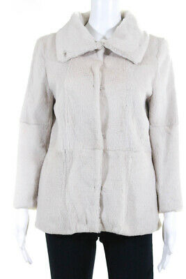 Jenni Kayne Women's Hook Closure Fur Coat Rabbit Beige Size Small