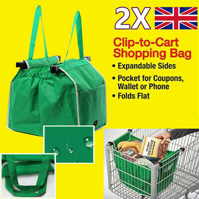 2X Extra Large Supermarket Shopping Bags Trolley Cart Hanging Basket Side Pocket