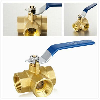 "Thread Connector 3 Way Full L-Port 1//2/'/' 3//4/'/' 1/"" Fixed Brass Ball Valve"