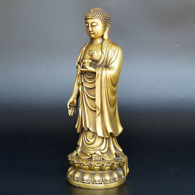 Chinese ancient antique hand make Amitabha Buddha Statue in Pure Copper statue