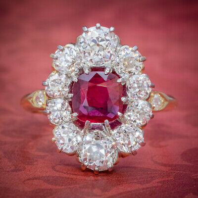 Antique Victorian 1.60Ct Ruby Diamond Cluster Ring 18Ct Gold Circa 1880