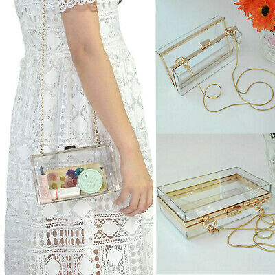 Women Acrylic Transparent Clutch Box Evening Party Purse Bag Wedding Handbag