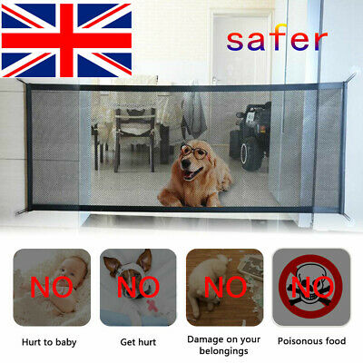 UK✔ Magic Folding Net Mesh Fence Pet Dog Safety Gate Baby Enclosure Stair Guard