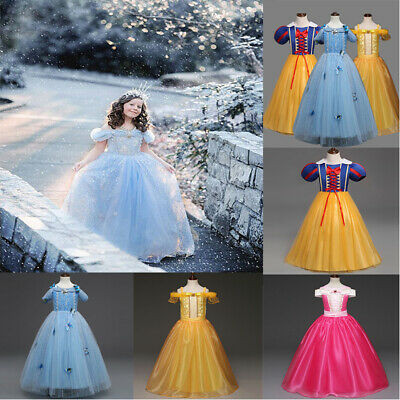 Princess Snow White Belle Cinderella Costume Party Gown Girl Kid Child Dress