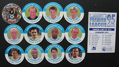 SUPER GIFT IDEA ⚽ Merlin Premier 95 ⚽ COVENTRY CITY FOOTBALL POGS & CHECKLIST ⚽
