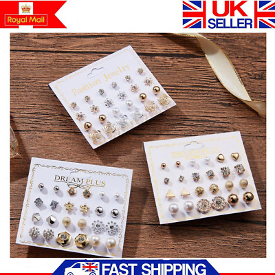Mixed Set Of 12 Pairs Different Style Ear Studs Earrings Gold Allergy Free UK