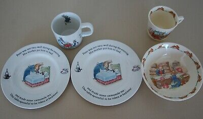 VINTAGE Doulton Bunnykins and Wedgwood Peter Rabbit china. plates & mugs & bowl
