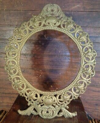 nice Antique round CAST IRON Metal EASEL BACK DESK MANTEL FRAME PICTURE rococo