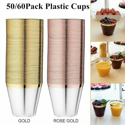 50/60x ROSE GOLD Plastic Cups Clear Tumblers Rimmed Fancy Disposable Wedding UK