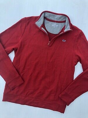 New! Boys Vineyard Vines Red 1/4 Zip Long Sleeve Whale Shirt! Large