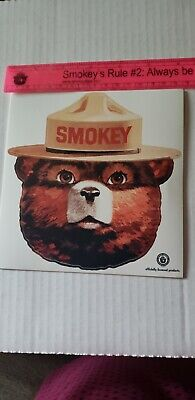 "One or more, 6"" Smokey Bear. VINYL FACE STICKER.ALL WEATHER IN SIDE OR OUT."