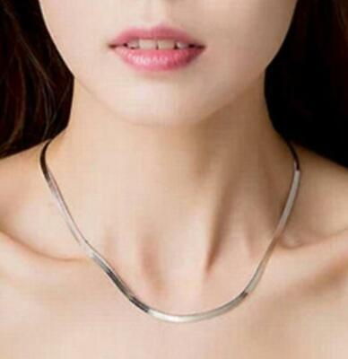Men Women 925 Sterling Solid Silver Flat Snake Bone Chain Necklace For Jewelry