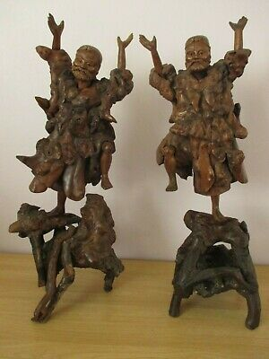 """Pair Of 21"""" Antique Chinese Root Wood Carvings Immortal Li Tieguai Sculpture"""