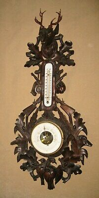 Antique French Black Forest BAROMETER WEATHER STATION Hand Carved Hunting Theme