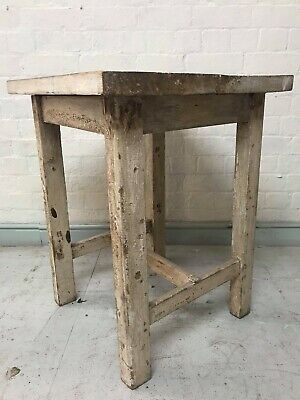 Antique French Pine Painted Parisian Artists Studio Side Table Console Dining.