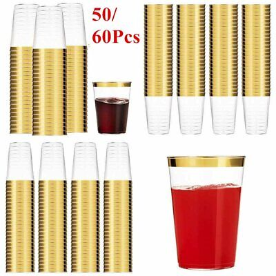 50/60x Disposable Gold Rim Party Wine Juice Glass Clear Plastic Cups Tumblers UK