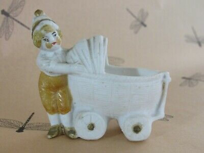 """Antique Vintage German Snow Baby with a Baby Buggy Marked """"Germany"""""""