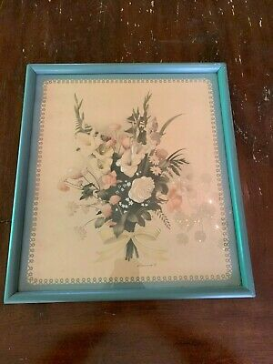 Vintage Mid Century Watercolor Airbrush Flowers By Bernard Picture Company Blue
