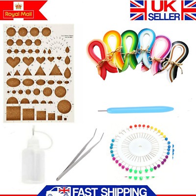 Handmade Starter Quilling Paper Kits DIY Craft Workboard Slotted Tool 1200Strips