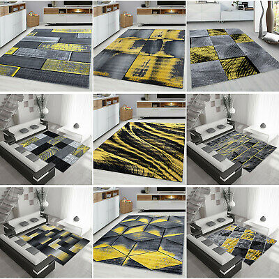 Ochre Yellow Grey Mustard Gold Rug Large Living Room Floor Bedroom Carpet Rugs