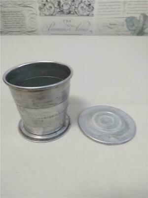 Vintage Aluminum Folding/Collapsing Drinking Cup w/Lid*Camping/Travel