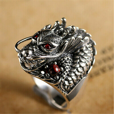 Antique Thai Silver Men Rings Chinese Dragon Fashion Ring Jewelry Simple
