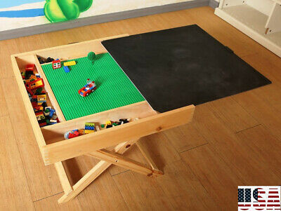 2 In 1 Kids Wooden Activity Table Folding Lego Play Table Storage Chalkboard US