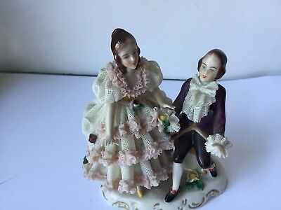 Antique Dresden Porcelain Figurines, Vintage, Stamped, Perfect State, Rare Piece