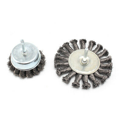 2Pc Stainless Steel Knot Wire Wheel Brush Set For Metal Polishing Rust Cleaning