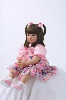 24'' Toddler Reborn  Dolls Real life Cute Baby Silicone Lifelike +PinkClothes