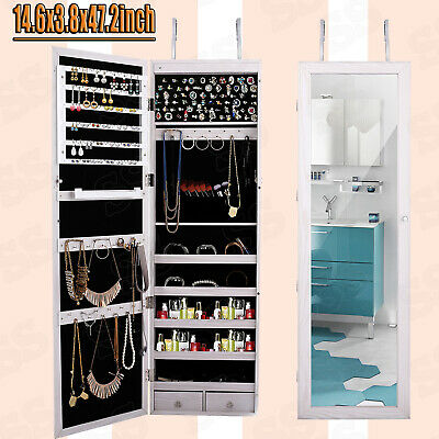 Wall Door Mounted Mirror Jewelry Cabinet Armoire Organizer w/ LED Light-Lockable