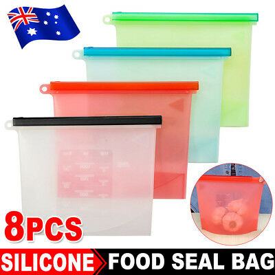 8x Reusable Silicone Seal Food Storage Food Preservation Bags Airtight Container