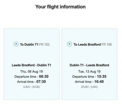 rtn flight tickets from Leeds to Dubin,1 Adult Incl. 2 Cabin Bags