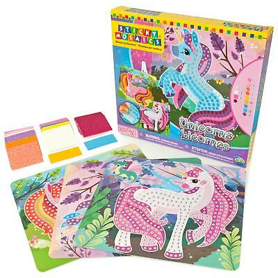 Sticky Mosaics Unicorns Childrens Colour Numbers Picture Making Craft Kit/Set
