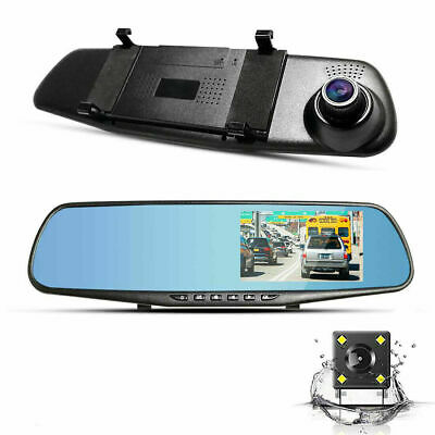 "4.3"" 1080P Dual Lens Car Dash Cam Front and Rear Camera DVR Touch Recorder Video"