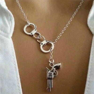 Stylish 1Pcs Handcuff and Gun Lariat Necklace Pendant Necklace YJ
