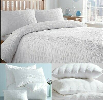 Seersucker White Duvet Cover with Pillow Cases 100% Egyptian Cotton Bedding Sets