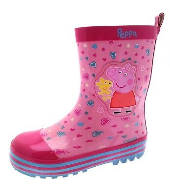 Peppa Pig Girls Rubber Wellington Boots Kids Character Rain Snow Shoes Size