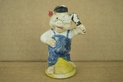 """Vintage Japanese Bisque Porcelain Angry Little Pig Figurine 3-3/8"""" Tall"""