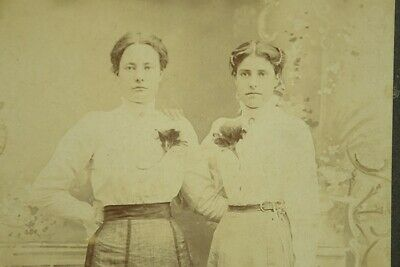 Antique Cabinet Card Sepia Photograph Young Mother Daughter Pawnee OK
