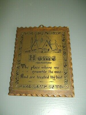 Vintage Small Wooden Wall Plaque With Metal Plate ~ Home....