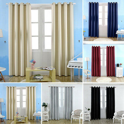 Blockout Thermal Curtains Ready Made Eyelet Ring Top Window Curtain Panels UK