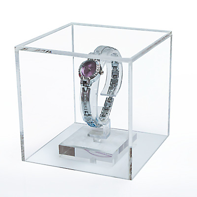 5 Sided Display Cube For Jewellery Display Clear Acrylic Box 4 sizes (G9+)