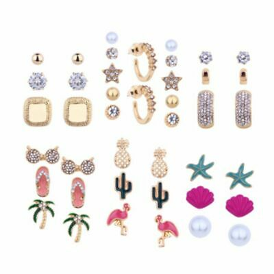 Fashion New Beach Jewelry Rhinestones Sea Shell Earrings Conch Starfish Stud
