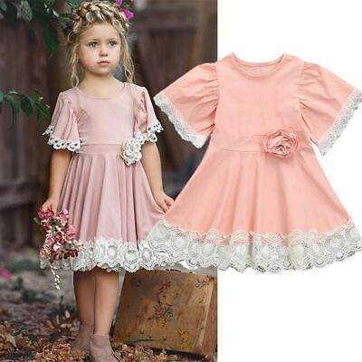 Clothes Pageant Princess Short Sleeve Lace Floral Baby Girls Dress Fairy Pink