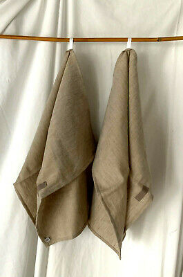 """NEW Handmade LINEN Blend KITCHEN TOWELS SET of 2 TWO 26"""" X 20"""" NATURAL SAND"""