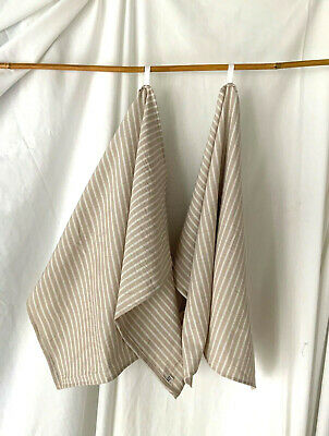 """NEW Handmade LINEN Blend STRIPED KITCHEN TOWELS SET of 2 TWO 26"""" X 20"""" NATURAL"""